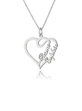 Přizpůsobené Sterling Silver Překrývající Se Srdce náhrdelník Typový štítek -
