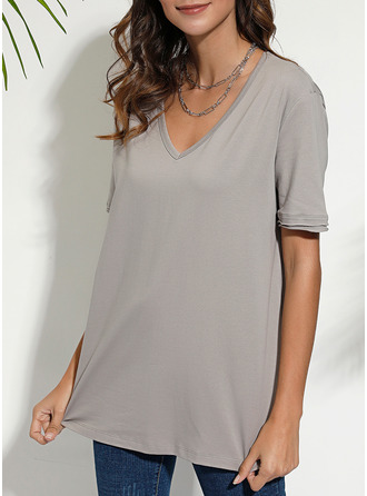 Solid V-Neck Short Sleeves Casual T-shirt