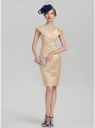 Sheath/Column V-neck Knee-Length Satin Mother of the Bride Dress With Ruffle Beading