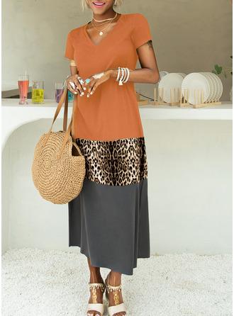 leopar Renkli klişe Shift Elbiseleri Mâneci Scurte Maxi gündelik Tatil Moda Elbiseler