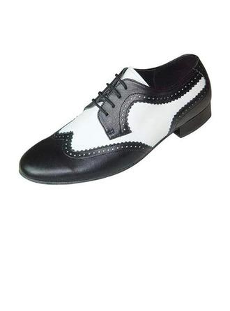 Men's Real Leather Flats Latin Ballroom Swing Dance Shoes