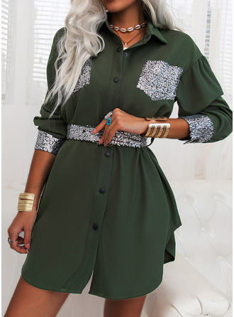 Sequins Sheath Long Sleeves Mini Casual Shirt Dresses