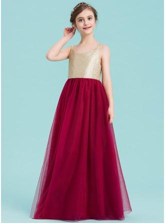 A-Line/Princess V-neck Floor-Length Tulle Junior Bridesmaid Dress