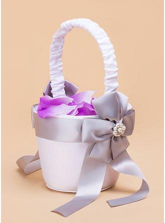 Satén con La perla de faux/Proa Cesta de flores