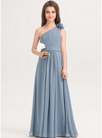 A-Line One-Shoulder Floor-Length Chiffon Junior Bridesmaid Dress With Ruffle Flower(s)