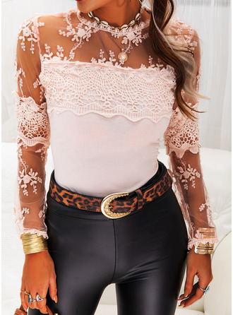Lace Solid Round Neck Long Sleeves Casual Elegant Blouses