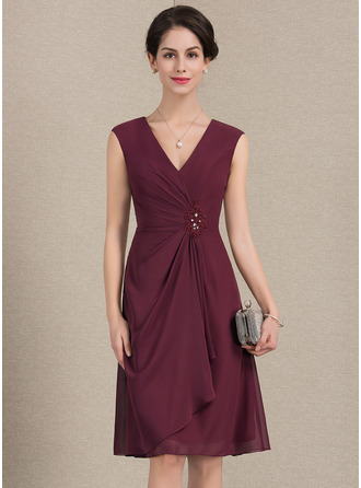 A-Line/Princess V-neck Knee-Length Chiffon Mother of the Bride Dress With Beading Sequins Cascading Ruffles