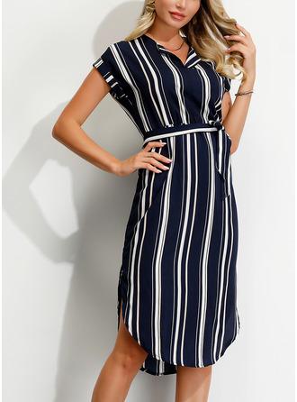 Striped Sheath Short Sleeves Midi Casual Dresses