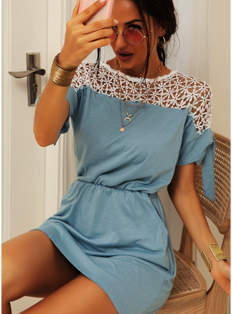 Above Knee Round Neck Polyester/Lace Lace 1/2 Sleeves Fashion Dresses
