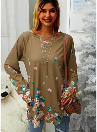 Floral Print Round Neck Long Sleeves Sweatshirt
