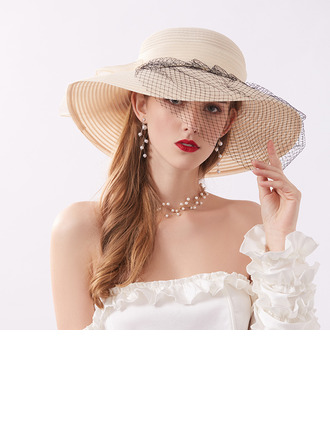 Ladies' Classic/Elegant Tulle With Tulle Beach/Sun Hats