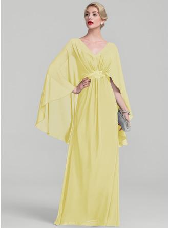 A-Linie/Princess-Linie V-Ausschnitt Bodenlang Chiffon Kleid für die Brautmutter mit Rüschen Perlstickerei