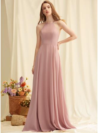 A-Line Scoop Neck Square Neckline Floor-Length Chiffon Prom Dresses