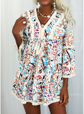 Floral Print Lace-up Tassel Shift 3/4 Sleeves Flare Sleeve Mini Casual Tunic Dresses