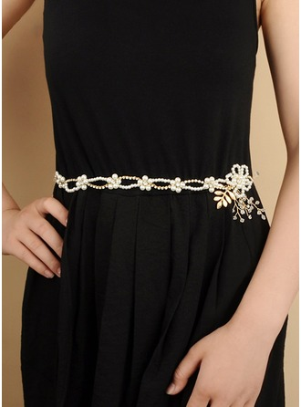 Gorgeous Satin/Ribbon Sash With Crystal/Imitation Pearls