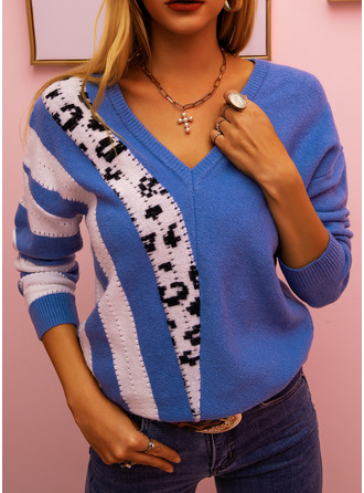 V-Neck Casual Leopard Color Block Sweaters
