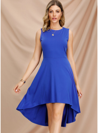 A-Line Scoop Neck Asymmetrical Polyester Cocktail Dress