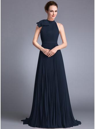 A-Linie/Princess-Linie U-Ausschnitt Sweep/Pinsel zug Chiffon Abendkleid mit Schleife(n) Gefaltet