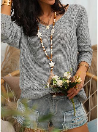 V-Ausschnitt Lässige Kleidung Einfarbig Pullover (1002251247)