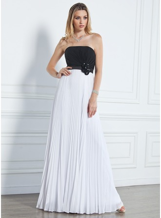 A-Line/Princess Strapless Floor-Length Chiffon Prom Dress With Beading Flower(s) Pleated