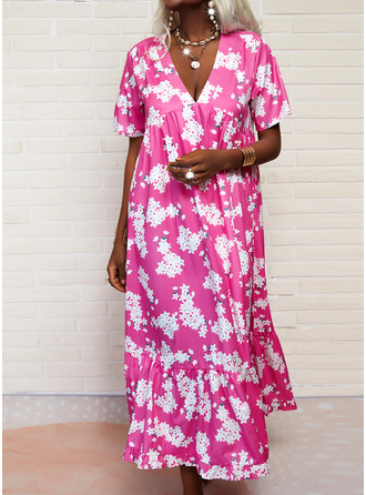 Floral Print Shift Short Sleeves Maxi Vacation Dresses