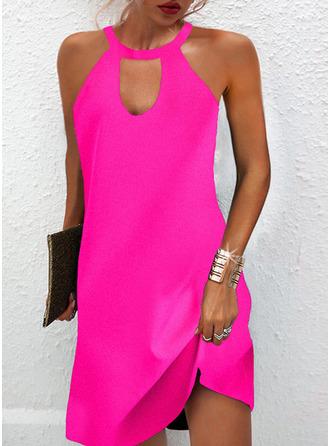 Solid Shift Sleeveless Mini Casual Dresses