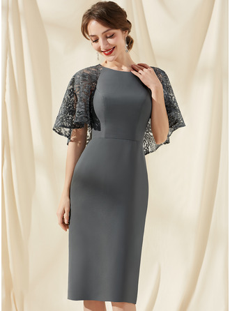 Sheath/Column Scoop Neck Knee-Length Chiffon Lace Cocktail Dress