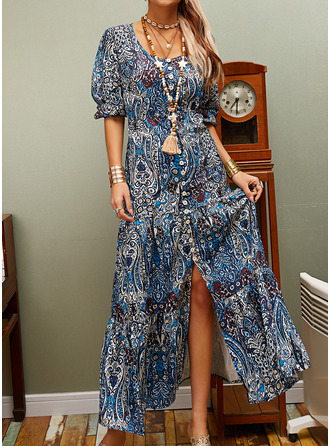 Floral Print Shift 3/4 Sleeves Maxi Boho Casual Vacation Dresses