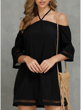 Solid Shift Cold Shoulder Sleeve Mini Casual Dresses