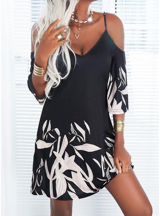 Print Shift 1/2 Sleeves Mini Casual Tunic Dresses