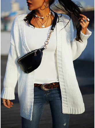 Casual Solid Chunky knit Sweaters