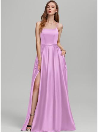 A-Line Square Neckline Floor-Length Satin Prom Dresses With Split Front Pockets