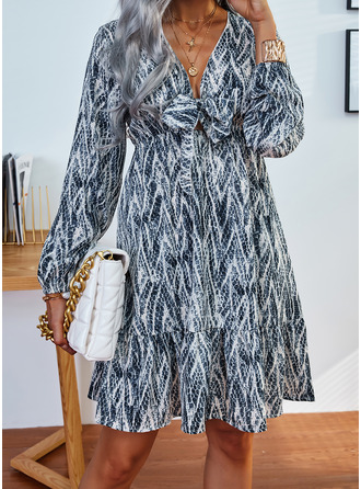 Print A-lijn-jurk Lange Mouwen Mini Casual schaatser ()