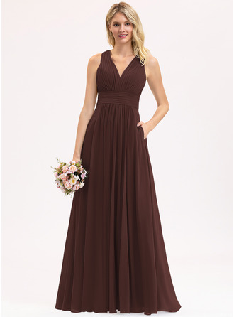A-Line V-neck Floor-Length Chiffon Bridesmaid Dress With Ruffle Bow(s) Pockets