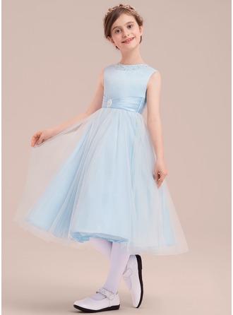 Forme Princesse Longueur mollet Robes à Fleurs pour Filles - Satiné/Tulle Sans manches Col rond avec Brodé