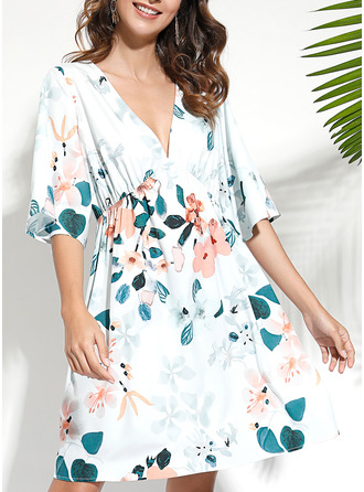 Floral Print A-line 1/2 Sleeves Midi Boho Casual Vacation Skater Dresses