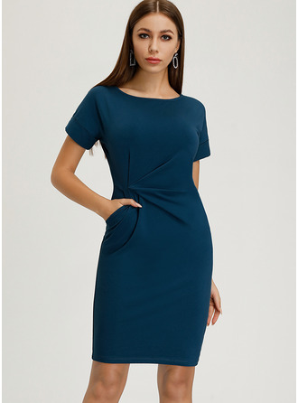 Solid Round Neck Short Sleeves Midi Dresses