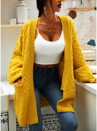 Casual Long Solid Cable-knit Pocket Sweaters