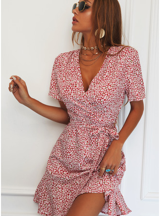 Floral Print Sheath Short Sleeves Mini Casual Elegant Wrap Dresses