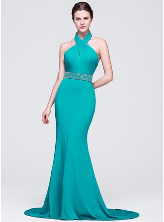 Trumpet/Mermaid Halter Sweep Train Jersey Evening Dress With Ruffle Beading Sequins