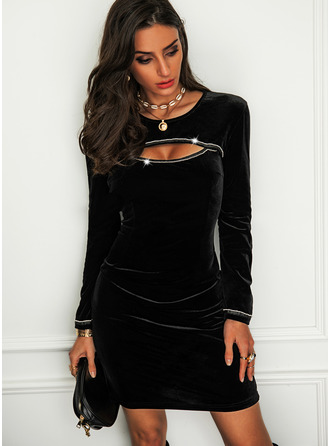 Sequins Solid Bodycon Long Sleeves Mini Little Black Party Dresses