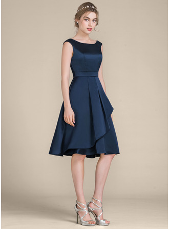 A-Line/Princess Scoop Neck Knee-Length Satin Bridesmaid Dress With Cascading Ruffles
