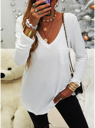 Einfarbig V-Ausschnitt Lange Ärmel Basic Lässige Kleidung T-shirt