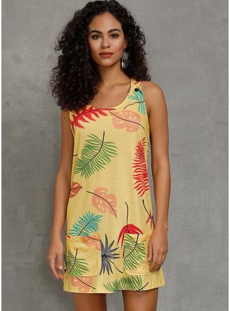印刷 シフトドレス ノースリーブ ミニ カジュアル タンク ファッションドレス