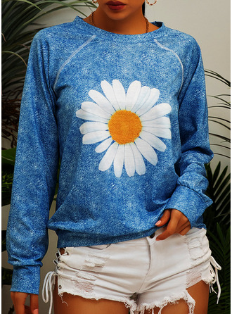 Floral Print Round Neck Long Sleeves (1001253757)