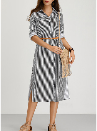 Striped A-line 3/4 Sleeves Midi Boho Casual Shirt Dresses