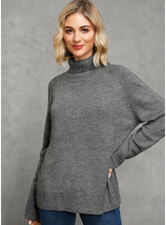 Turtleneck Casual Solid Sweaters