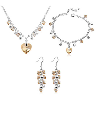 Damer' Legering/Platina med hjärta Österrikiska Kristall Smycken Sets Henne/Brudtärna