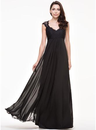 Трапеция/Принцесса V-образный Длина до пола шифон Кружева Платье Подружки Невесты