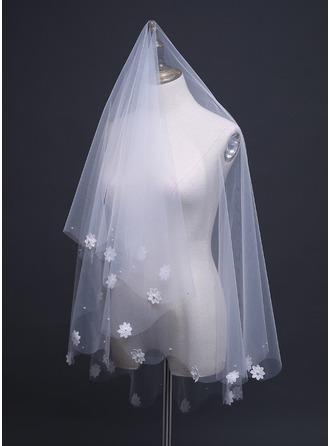 Een-rij Gesneden Rand Wals Bruids Sluiers met Satijnen Strik